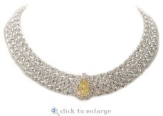 Cubic Zirconia Necklace Pear, Marquise & Round Cleo Necklace by Ziamond.  A 6 ct. 15x10 canary pear cubic zirconia is highlighted by a beautiful arrangement of marquise and round cz for a regal look.  $21995 #ziamond #cubic zirconia #cz #necklace #pear #marquise #14kgold #jewelry