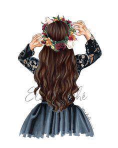 Fashion Illustration Hair, Illustration Mode, Beautiful Girl Drawing, Cute Girl Drawing, Girl Drawing Sketches, Girly Drawings, Drawing Tips, Flower Crown Hairstyle, Crown Hairstyles