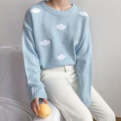 Kawaii Clouds Sweater - Sky blue / One Size