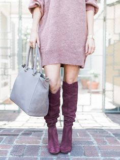 weekend outfit // slouchy suede boots, sweater dress, everyday satchel bag Weekend Style, Weekend Outfit, Fall Winter Outfits, Autumn Winter Fashion, Skirt Suit, Dress Skirt, Mom Clothes, Satchel Bag, Mom Outfits
