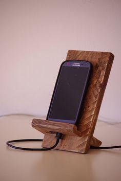 Reclaimed wood Phone Dock, Wooden phone stand Follow us @ https://www.pinterest.com/freecycleusa/