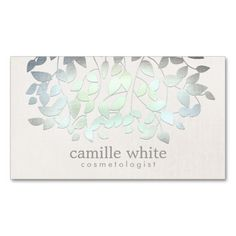 Cosmetology Faux Blue Green Foil Leaves Linen Look Business Card Templates. I love this design! It is available for customization or ready to buy as is. All you need is to add your business info to this template then place the order. It will ship within 24 hours. Just click the image to make your own!
