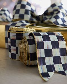 MacKenzie-Childs Courtly Check Wrapping Wide Gold Striped Ribbon for Decor- W X 10 yards H Black White Gift Ribbon Bow Making Tutorials, Mackenzie Childs Inspired, Mckenzie And Childs, Gift Ribbon, Ribbon Bows, Gold Stripes, Wired Ribbon, Of Brand, How To Make Bows