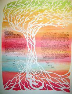 Ketubah Morning Breezes Guitar Tree Ketuba Papercut by jerise, $475.00