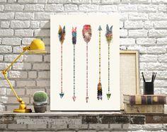 Native Earth Arrows . colorful pop art watercolors by oxleystudio