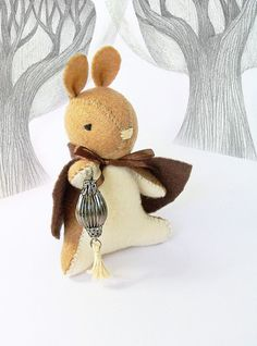 Felt Bunny Rabbit Doll, Collectible Whimsical Soft Sculpture, The Gate Keeper