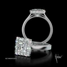 The lavish and elegant Ring of Fire is a celebration of color dispersion and light. A 1.00ct princess cut center with a prongs set Blaze® halo and an elegant bare shank.