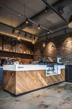 Brick interior / Coffee shop Start-up coffee shop Interior Coffee shop with brick … Coffee Shop Counter, Cafe Counter, Coffee Shop Bar, Coffee Shop Design, Wood Counter, Restaurant Counter, Interior Design Coffee Shop, Small Restaurant Design, Deco Restaurant