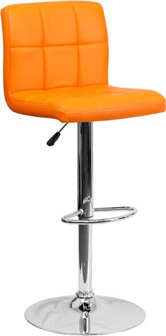 Item #: DS-810-MOD-ORG-GG www.ashleydeals.com/orange-adjustable-bar-stool-ds-810-mod-org-gg.html #Flash #Furniture #Orange #Quilted #Vinyl #Adjustable #Barstool #Chrome #Base #Metal #Furniture #Company #online #ashley #deals