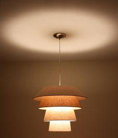 1950's linen tiered pendant lamp