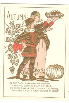 Candee Rubber Boots Trade Card Autumn theme pumpkin Phillips Maine ME 1880s