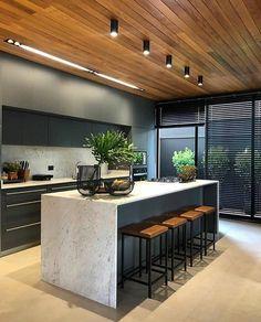 Kitchen Room Design, Home Room Design, Modern Kitchen Design, Home Decor Kitchen, Modern House Design, Interior Design Kitchen, Home Kitchens, Kitchen Kit, Luxury Kitchens