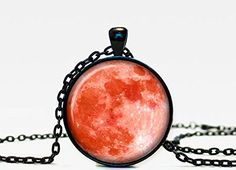 Moon pendant Moon necklace Moon jewelry red moon ** Find out more about the great product at the image link. (This is an affiliate link and I receive a commission for the sales)