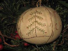 Primitive Folk Art Sampler Ornament~Merry Christmas~Pine Trees~