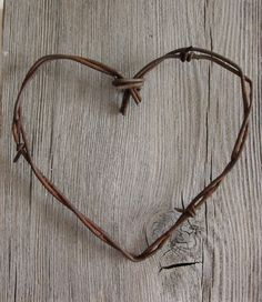 Old Barbed Wire Heart -Simple Old Rusty Heart- wedding decor home decor