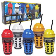 Drink with the Daleks... if you dare!   Direct from the 11th Doctor series of the BBC's long-running sci-fi television showDoctor Who, these sturdy Paradigm Dalek Tumblers look just like those nasty cyborgs. Featuring a screw-on domed lid and a black reusable straw that emulates the Dalek's stalk, these handy drinking glasses include black-and-white accents, measure approximately 7 3/4-inches tall, and hold 16-ounces of your favorite time-traveling refreshment.