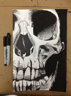 drawing Cool Awesome pencil skull morbid ink Sketch skeleton pen ...