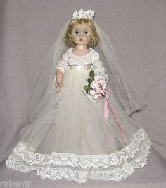 "My sister had a doll like this and I was enchanted with it. 15"" Madame Alexander Bride Doll Wendy Tagged Wedding Dress"