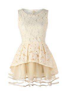 Wonderful Elegant Beige Big Hem Floral Dress