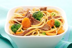 Our colorful beef noodle bowl includes linguine, sirloin steak, fresh veggies...and can be on the table in 20 minutes. Not bad for a Healthy Living recipe!