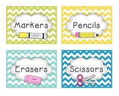 Chevron Classroom Decor - A Calm, Bright,  Organized Classroom...LABELS and MoRe!