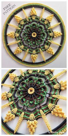 Touch of Sunbeams Mandala Free Crochet Pattern – Patti Prpw - Crochet Motif Mandala Crochet, Crochet Square Patterns, Crochet Motifs, Doily Patterns, Crochet Squares, Thread Crochet, Love Crochet, Crochet Designs, Crochet Crafts