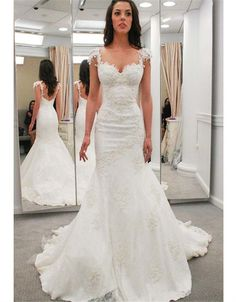 2016 New Sweetheart Neck Cap Sleeves Court Train Bridal Gown Charming Open Back Appliques Mermaid Wedding