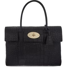 MULBERRY Bayswater crocodile-effect leather bag ($1,805) ❤ liked on Polyvore featuring bags, handbags, tote bags, black, mulberry tote, black handbags, black leather purse, genuine leather handbags and genuine leather purse