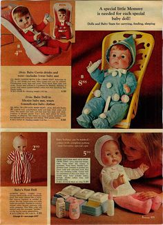 """1970 Penneys Dolls with Baby Carrie, Kewpie, Softina and unnamed 23"""" Baby Doll"""