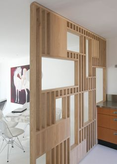 Room Divider Shelves, Garage Roof, Flat Ideas, House In The Woods, Home Kitchens, Interior Design, Bed, Work Spaces, Furniture
