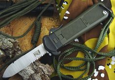 Eickhorn Solingen Original Green LL80 Search & Rescue Partially Serrated Drop Point OTF German Gravity Paratrooper Knife