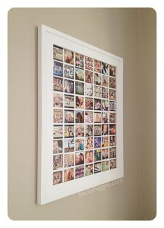 Favorite project: Instagram Memory Display. Use Photoshop (or other photo editing software) to make a collage of 2×2″ instagram photos, then print it poster-sized at Costco for cheap.