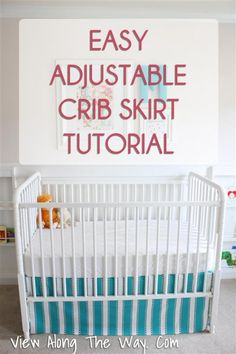 Easy Adjustable Crib Skirt Tutorial. Here's how you make it. Step one: Cut and hem three rectangles, then pin or clip them to your crib. The end.