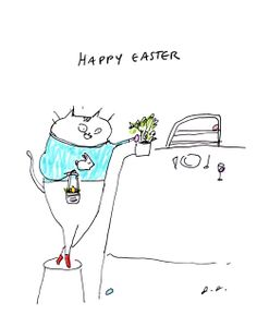 Happy Easter Cat Card by jamieshelman on Etsy, $4.95