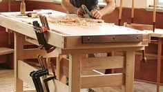 Check out Garrett Hack's new workbench, a thoughtful design based on 30 years of woodworking experience. Watch the video, read the article, buy the plans. Woodworking Workbench Designs, Workbench Plans, Fine Woodworking, Build Your Own Garage, Mitre Saw Station, Tongue And Groove, Mortise And Tenon, New Tricks, 30 Years
