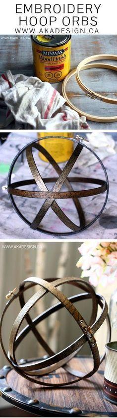 SO smart! DIY Embroidery hoop wood orbs for home decor. #smartdiyhomedecor