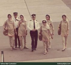 1966-1975. PIA Air Hostesses wearing uniform designed by French fashion designer Pierre Cardin.