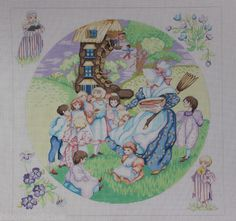 Edie & Ginger The Old Woman in a Shoe P236 Hand Painted Needlepoint Canvas