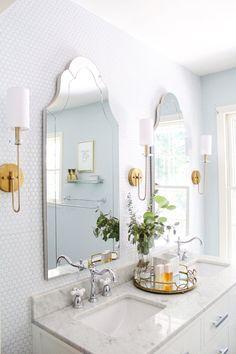 Gorgeous Bathroom Backsplash Update with Smart Tiles Home, Home Remodeling, Girls Bathroom, House Interior, Modern Farmhouse Bathroom, Smart Tiles, Bathroom Design, Bathroom Decor, Beautiful Bathrooms
