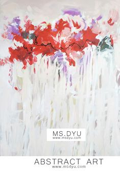 Accent red flowers art painting on pastel colors background on canvas by an abstract female artist in abstract style. Find Famous art decor ideas for bed for hanging above bed #artinspiration #arts #msdyu