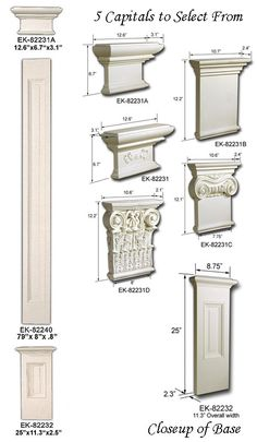 Pilaster Set - flat pillars that can be nailed or even glued to wall for architectural insterest