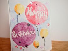Happy Birthday card with Avery Elle balloons stamp set and watercolor background!