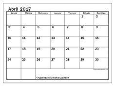 Calendario abril 2017 para imprimir, gratis. Calendario mensual : Tiberius (L). La semana comienza el lunes