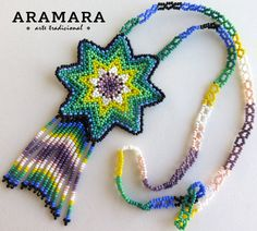 Mexican Huichol Beaded Green and White Star Necklace by Aramara