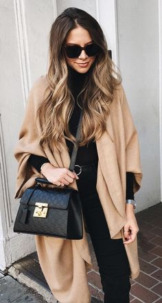 #winter #outfits brown coat and black long-sleeved dress