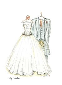 Wedding Dress Sketch and Kilt .  http://www.mydreamlines.com/how-it-works/photo-gallery/