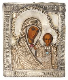 A Russian icon of the Kazan Mother of God with gilded silver oklad | Lot | Sotheby's
