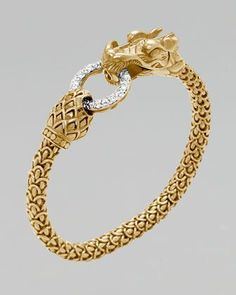 John Hardy Gold Naga Dragon Diamond O-Ring Bracelet - Neiman Marcus Mens Gold Bracelets, Diamond Bracelets, Ring Bracelet, Diamond Jewelry, Gold Bangles Design, Jewelry Design, Bling Jewelry, Jewelery, Cartier Jewelry