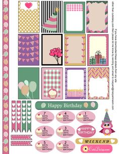 Planner & Journaling Printables ❤ Free Birthday Sampler Sticker Kit