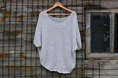 Grey Oversized Handknit Sweater Light Grey Loose Sweater Handmade Sweater Cottonblend top Women Sweater Handknit pullover Chunky Cotton Wrap